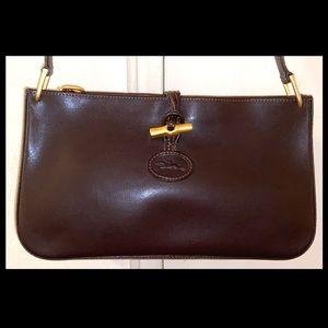 Vtg LONGCHAMP Roseau Leather Baguette Shoulder Bag